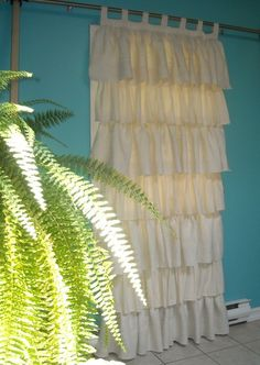ruffled burlap curtains
