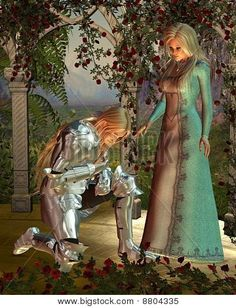 Picture of Fantasy illustration of Sir Launcelot Lancelot and Queen Guinevere from Arthurian legend in a rose arbour at sunset, digitally rendered illustration stock photo, images and stock photography. King Arthur Legend, Legend Of King, Fantasy Books, Fantasy Art, Fantasy Life, Roi Arthur, A Knight's Tale, Female Knight, Knight In Shining Armor