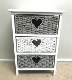 Bedroom Wicker Storage Units Get us in your inbox Sign Grey Wicker Baskets, White Storage Baskets, White Wicker Furniture, Cane Furniture, Upcycle Bedside Table, Bedside Drawers, Girls Bedroom, Bedroom Ideas, Bedrooms