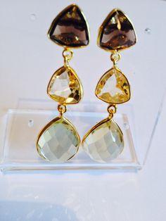 Smoky quartz, lemon quartz and rock crystal..