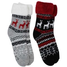 Winter Reindeer 2-Pack Slipper Socks With Fuzzy Cuff ($20) ❤ liked on Polyvore featuring intimates, hosiery, socks, black, fuzzy, long socks, holiday socks, wide socks, long fuzzy socks and cuff socks