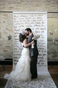 This artistic couple crafted a backdrop of handwritten love poems for their ceremony. - Click image to find more hot Pinterest pins