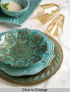 Vietri Damask Dishes & Laurel Glasses Collection