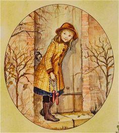 Mary  Lennox ventures into The Secret Garden by Tasha Tudor............LOVE her art work!