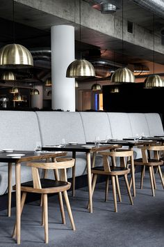 Lysverket restaurant and cafe in Bergen, Norway | designed by Mette Bonavent, with furniture and lamps from Københavns Møbelsnedkeri