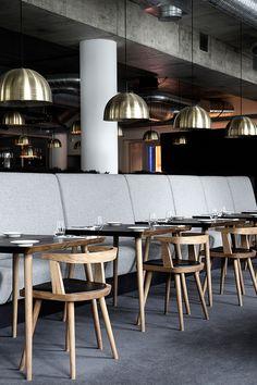 Lysverket restaurant and cafe in Bergen, Norway   designed by Mette Bonavent, with furniture and lamps from Københavns Møbelsnedkeri