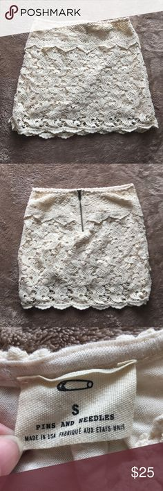 Pins & Needles cream crochet lace skirt Pins & needles cream crochet lace skirt   Size small   Excellent used condition  I accept lowball offers! Pins & Needles Skirts Mini