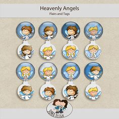 SoMa Design: Heavenly Angels - Flairs and Tags Heavenly Angels, Angels In Heaven, Digital Scrapbooking, Decorative Plates, Kit, Tags, Color, Design, Style