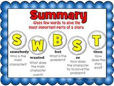 FREE Summary Poster {using Somebody, Wanted, But, So, Then)
