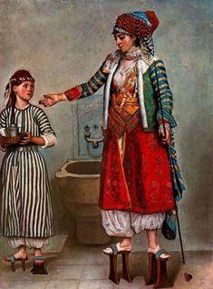 Jean-Etienne Liotard [1702-1789] - Femme turque et sa servante.  Miniaturiste et pastelliste de renom, Jean-Etienne Liotard demeure cependant le plus célèbre portraitiste de l'école genevoise. Réalisant des portraits d'une précision quasi photographique, il fut le caricaturiste des cours, de la haute bourgeoisie et de l'intelligentsia.