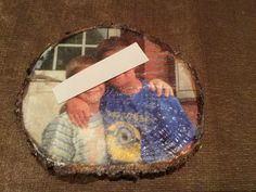 Foto auf Holzscheibe transferiert / Transfer picture on wood slice / Upcycling