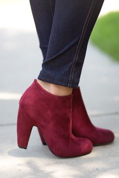 Fall Fashion, Fall Booties, Vegan Suede Booties, Burgundy
