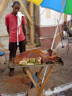 SANTIAGO DE CUBA ||| Street Vendor .  Barbecued Pig . Santiago de Cuba