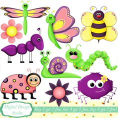 Cute critter bugs clip art set, 10 designs. INSTANT DOWNLOAD for Personal and commercial use. on Etsy, $5.17