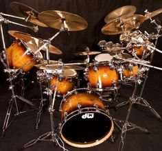 DW Drums made of beautiful orange and black wood.