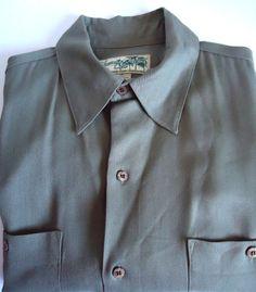 Mens Havana Jacks Cafe Hawaiian Camp 100% Silk Shirt Olive Green Sz M Causal