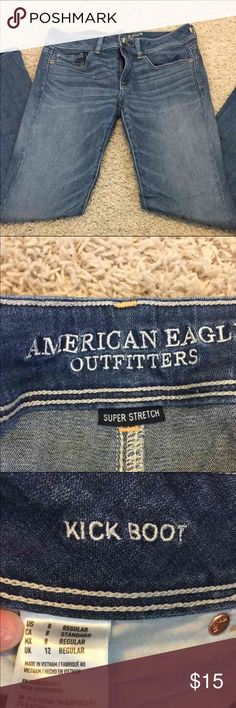 AE kick boot 8 regular American eagle. Light wash. Super stretch. Kick boot style. American Eagle Outfitters Jeans Boot Cut