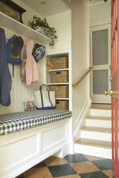 Mudroom luv- you can carve one out of a back hall like this! #mudroom