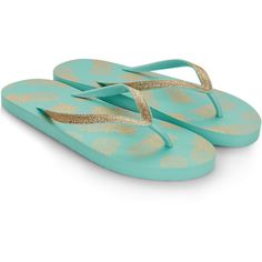 dfdeb9131385b4 Monsoon Pineapple Foil Eva Flip Flops (€14) ❤ liked on Polyvore featuring  shoes