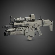 Combat Assault Rifle FN scar H 7.65mm cal. with 30mm grenade launcher, red dot sight and laser pointer
