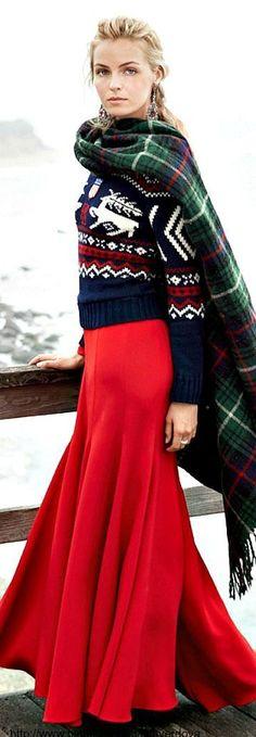 Blissful Style (She's beautiful) + plaid scarf, beautiful sweater and red maxi. #MyNewFallEdit