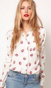 Lip print long-sleeved shirt 8678. an amazing casual and stylish shirt