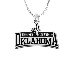 Oklahoma Sooners Spirit Charm  Sterling silver 'There's Only One Oklahoma' charm representing Oklahoma Sooners spirit. A unique charm that compliments your Oklahoma jewelry collection. State of the art manufacturing and high quality materials allows this charm to withstand the rigors of everyday wear. Spirit with style.   #university #oklahoma #sooners #boomer #college #jewelry #finger #charm #necklace