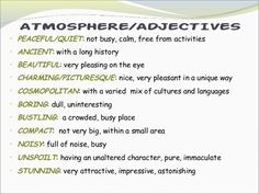 adjectives to describe places list - Buscar con Google