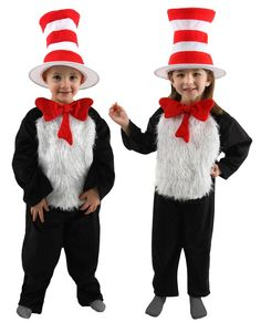 Where it here, where it there, where it everywhere! For Halloween, Dr. Seuss Day, or dress up, our Deluxe Cat in the Hat Child Costume is the perfect costume for any boy or girl! This costume features white plushy faux fur, the Cat in the Hat's iconic red bow, and the especially famous red and white striped hat. Other costume accessories are sold separately.
