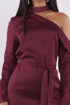 fashion video satin shirt dress in burgundy Elegant Dresses, Cute Dresses, Casual Dresses, Dress Outfits, Fashion Outfits, Emo Outfits, Dress Fashion, Runway Fashion, Fashion Women
