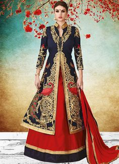 Mod Art Silk Embroidered Work Long Choli Lehenga