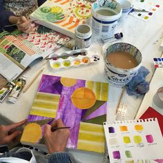 I launched my program of creative studio workshops in May 2015 to introduce participants with beginner-intermediate skill levels to fun and creative drawing, painting an collage techniques.