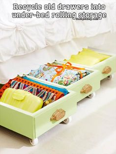 recycle old drawers into under-bed rolling storage