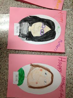 And check out one of our mother's day activities. We made cards and  portraits of our moms and wrote some wonderful letters! We also used  adjectives to describe these wonderful women! They turned out great!