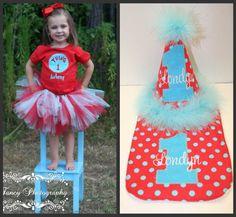 Boutique Girls Dr. Seuss Thing 1 or 2 Birthday Tutu Outfit|Dr. Seuss Thing 1 or Thing 2 Costume