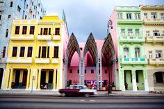 A bar of modern design is nestled between Art Nouveau buildings along the Malecon, also known as Avenida de Maceo, in Havana. Havana Vieja, Havana Cuba, Cuba Travel, Spain Travel, Beach Travel, Mexico Travel, Cuban Architecture, Art Nouveau, Backpacking Spain