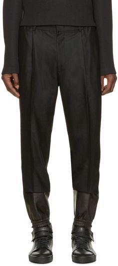 Juun.J Black Wool & Leather Trousers