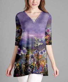 Look at this #zulilyfind! Purple Floral Lace-Accent V-Neck Tunic - Plus #zulilyfinds