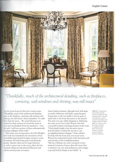 Vaughan Lotus Glass Columns & Fleville Crystal Chandelier aids in transforming a Derbyshire downer house in 'A Singular Sense of Style' article, The English Home (September issue)