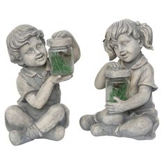 Northlight Boy and Girl with Fireflies Outdoor Garden Statues - Set of 2 - 32230842