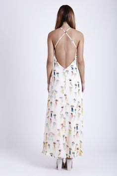 ELEGANCE - JELLY FISH PRINT SATIN MAXI DRESS WITH LOW OPEN BACK