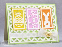 Card showing three of the TE You've Been Framed - Spring dies plus the new Floral Lattice Cutting Plate.