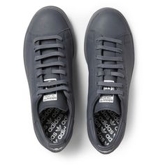 Raf Simons Adidas Stan Smith Leather Sneakers ($450) ❤ liked on Polyvore featuring mens, men's shoes and men's sneakers