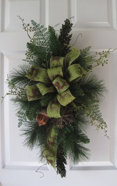 Winter Woodlands Swag Chocolate & Green Christmas Evergreen