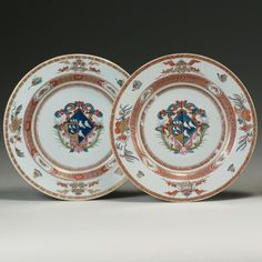 Chinese Export Armorial Plates,Circa 1724.