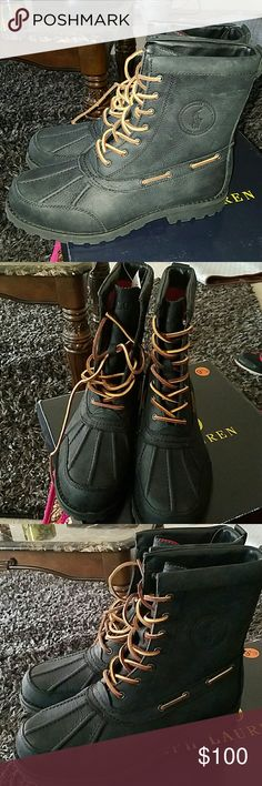 Mens Ralph Lauren Duck Toe boots Mens New with box never been worn, looks like they are a black matte color. Size 9 1/2. Upper leather fabric,very comfortable winter boots. Originally Bought for $150. Getting a great deal!! Ralph Lauren Shoes Rain & Snow Boots