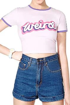 c59c7566eeb ROMWE Letters Print Contrast Trimming Light-pink T-shirt Mobile Site 90s  Fashion