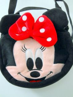 Disney Minnie Mouse Pink Face Backpack Purse Cloth 3D Red Polka Dot Bow Straps