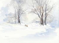 Image result for watercolour painting snow