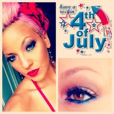 Happy 4th of July!!!! Be safe out there! And here is my patriotic makeup. #4thofjuly #patrioticmakeup #makeup #makeupart #mod #redlips #Padgram